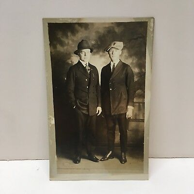 Antique Real Photo Postcard RPPC Two Nicely Dressed Men Black & White Unposted