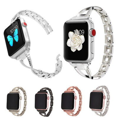 Stainless Steel Wrist Bling Rhinestone Band For Apple Watch Series 3 2 1 38 42MM