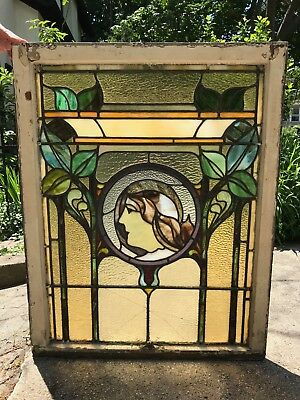 Beautiful Stained Glass Art Nouveau Antique Double-hung Window