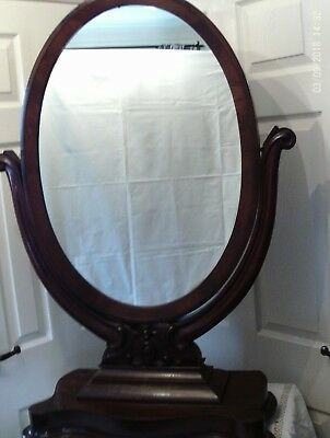 antique victorian mahogany large toilet /bathroom mirror