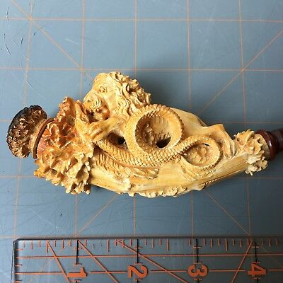 Intricately Carved Antique Meerschaum Pipe Cheroot of a Lion and Snake