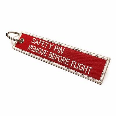 Imperdible/Remove Before Flight Llavero Etiqueta de Equipaje Rojo/Blanco