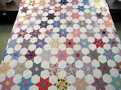 """GRAPHIC Vintage Feed Sack Cotton Hand Pieced & Quilted HEXAGONAL STAR; 86"""" x 65"""""""