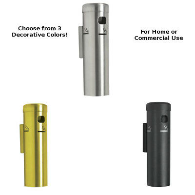 Cigarette Receptacle Metal Outdoor Butt Can Wall Mount Disposal Commercial