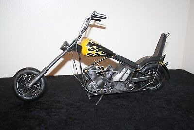 Flames Black Silver Metal Motorcycle Figurine Home Office Man Cave Garage Decor