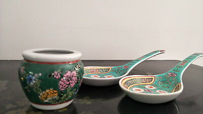 2 X Large  Antique Chinese Famille Rose Spoon & Water Pot