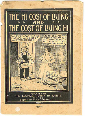 Early SOCIALIST PARTY of IL Booklet ~ The Hi Cost of Living & Cost of Living Hi