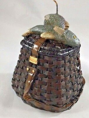 Candle With Fish On Fishing Basket Detailed Vintage Rare Boxed