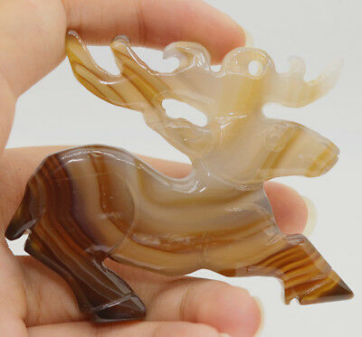 Chinese Hongshan culture style brown stripe agate hand carved sika deer L173