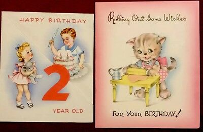 Lot of two Childrens Vintage Birthday Cards
