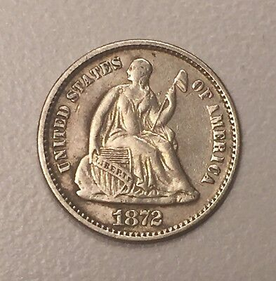 1872 Seated Liberty Silver Half Dime H10C AU About Uncirculated