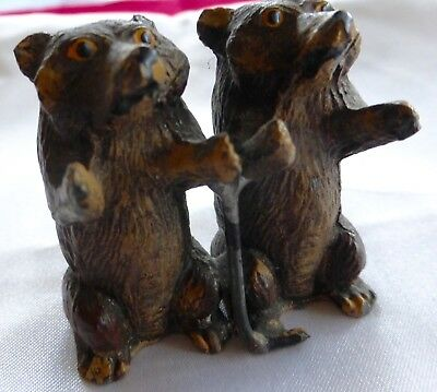 Antique Vienna Bronze Pair Of Bears, Great Paint, Facial Expressions,one Piece