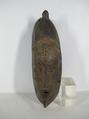 Vintage African Guro Tribe Carved & Painted Wood Face Mask Côte d'Ivoire #12 yqz