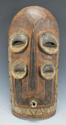 Vintage African Bembe Tribe Hand Carved & Painted Wood Face Mask Zaire #18 yqz