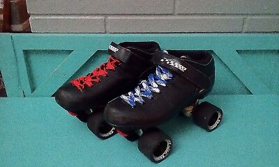 503483bce48 Riedell Carrera Men s Leather Speed Roller Skates Quad Sure Grip 96A Size 10