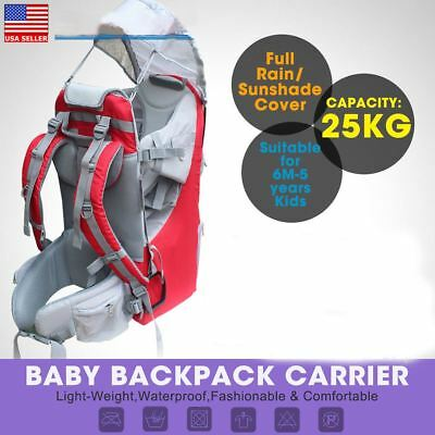 ee075831578 Baby Toddler Backpack Camping Hiking Child Kid Carrier w  Shade Visor Red  US Shi