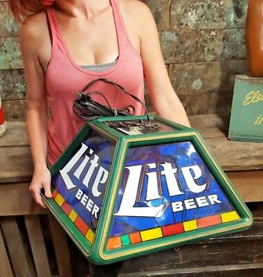 Vintage MILLER LITE Beer Poker Pool Table Light Stained Glass Bar Sign