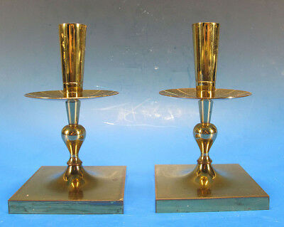 Vintage Pair Tommi Parzinger Dorlyn Silversmith Brass Candle Holders Sticks yqz