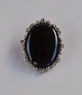 large Vintage black glass oval cameo domed brooch pin ornate silver metal frame
