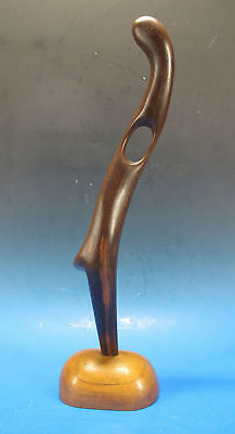 Vintage J E Veudovic Modernist Carved Wood Abstract Free Flowing Sculpture yqz