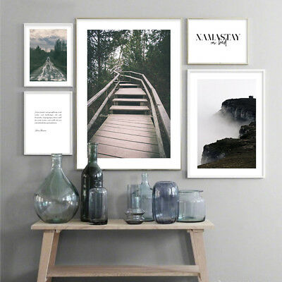 Scandinavian Forest Landscape Canvas Poster Minimalist Nordic Wall Art Prints