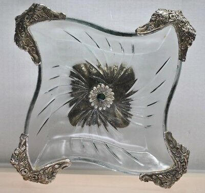 """Rare- Antique Art Deco Glass & Metal Pedestal Tray With Grapes Stamped """"mhn"""""""