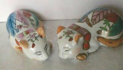 TWO  LARGE Peaceful  sleepy CATS Vintage-Chinese -Porcelain Floral Motif bows