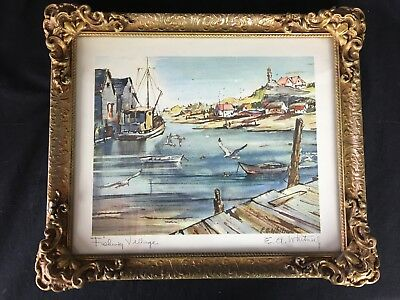 Edgar A WHITNEY Watercolor Print Signed Fishing Village Nova Scotia Framed E A