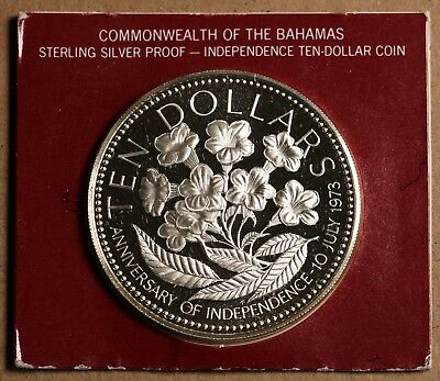 1975 Bahamas 10 Dollars $10 KM# 76a Silver 1.4oz Proof Coin 50mm