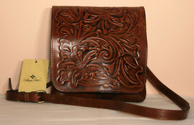 PATRICIA NASH florence brown embossed leather GRANADA crossbody handbag NWT