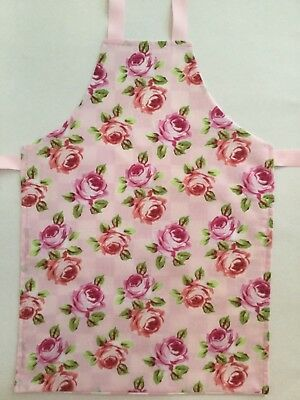 Apron toddler girl Pink floral fabric Size 2-4 approx. Gift Cook craft. handmade