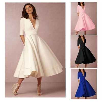 Women's Sexy Deep V-neck Vintage A-line Evening Party Cocktail Midi Swing Dress