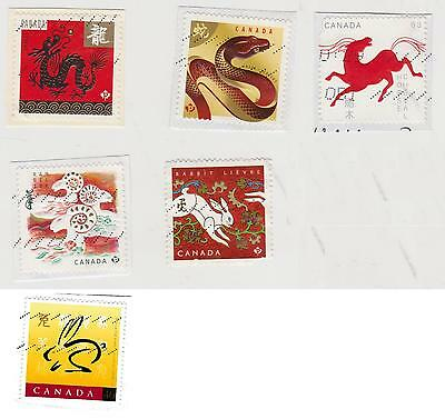 Stamps Canada Chinese Moon Lunar Calendar Year Dragon Serpent Ram Rabbit Horse