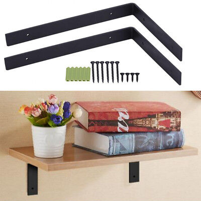 Pair of Metal Heavy Duty Shelf Bracket Wall Hanging L Shaped Shelve Storage DIY