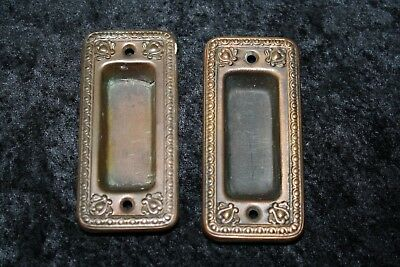 VINTAGE METAL ANTIQUE DOOR PULL PUSH plate SET POCKET HANDLES HARDWARE L3