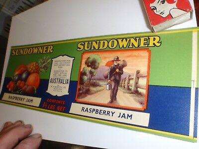 Sundowner  raspberry Jam  paper label Australian