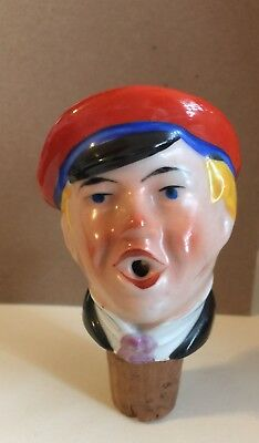Vtg German Porcelain Ceramic Head Bottle Stopper Pourer