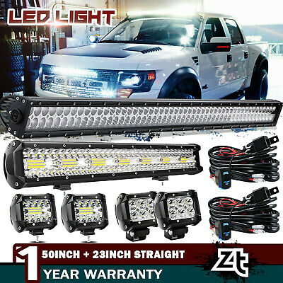 "52Inch Curved LED Light Bar+22 inch+4"" CREE PODS OFFROAD SUV 4WD UTV VS 50/42/20"