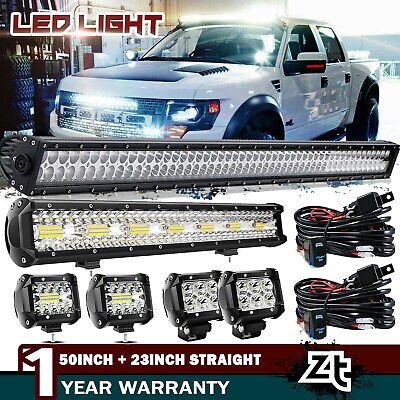 """54Inch Curved LED Light Bar+22 inch+4"""" CREE PODS OFFROAD SUV 4WD UTV VS 52/42/20"""