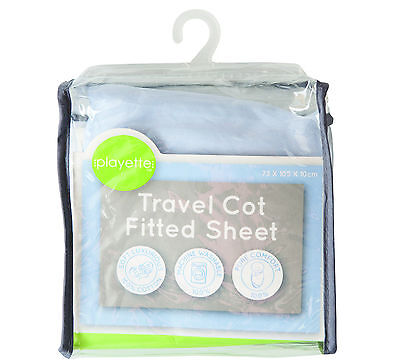 PlainTravel Cot Fitted Sheet - Blue..<