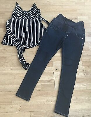 Isabella Oliver maternity outfit size 12 14 jeans striped top