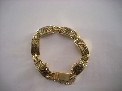 Greek link bracelet faux gold with black and gold design women's 7 inch