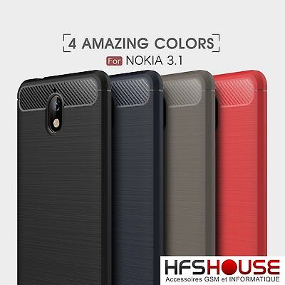 Per Nokia 3.1 Custodia Carbon Tpu Silicone Gel Cover Case