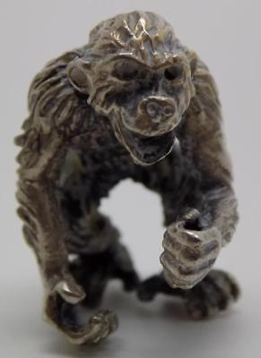 Vintage Solid Silver Italian Made Monkey Miniature, Figurine, Stamped