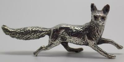 Vintage Solid Silver Italian Made RARE Fox Miniature, Figurine, Stamped