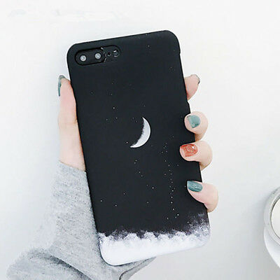 Space Moon Stars Sky painting Hard pc Phone Case For iphone 5 6 6S 7 8 Plus X