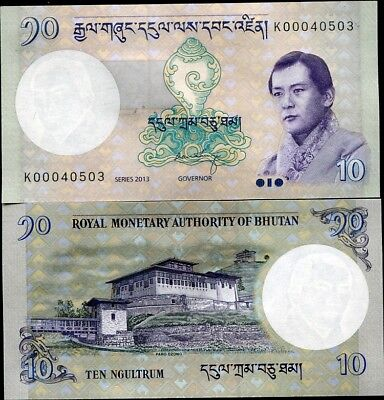 Bhutan 10 Ngultrum 2013 P 29 New Signature Unc Lot 10 Pcs Nr