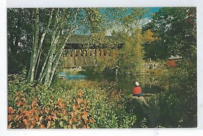 Old Covered Bridge in New England - Vintage Postcard