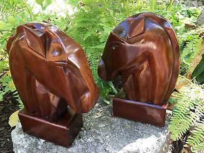"""VTG Pair Hand Carved Wood 10"""" Horse Head Bookends Art Deco GORGEOUS! Equestrian"""