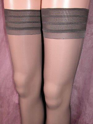 Lot Of 24 Sheer Gloss Hold Up Stockings Barely Black With Deep Patterned Tops Wp
